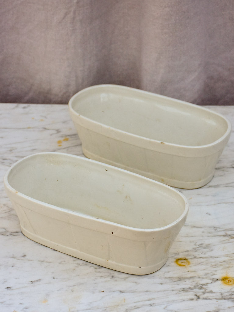 Pair of oval terrine dishes - faience