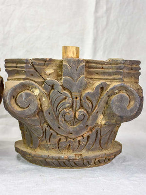 Pair of antique salvaged column capitals