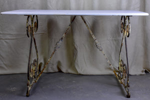 Rectangular French garden table with marble top
