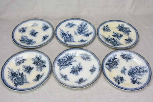 Set of six early twentieth century French faience dessert plates - anthracite blue