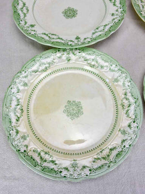 Antique English serving bowls and plates - 'Como' green