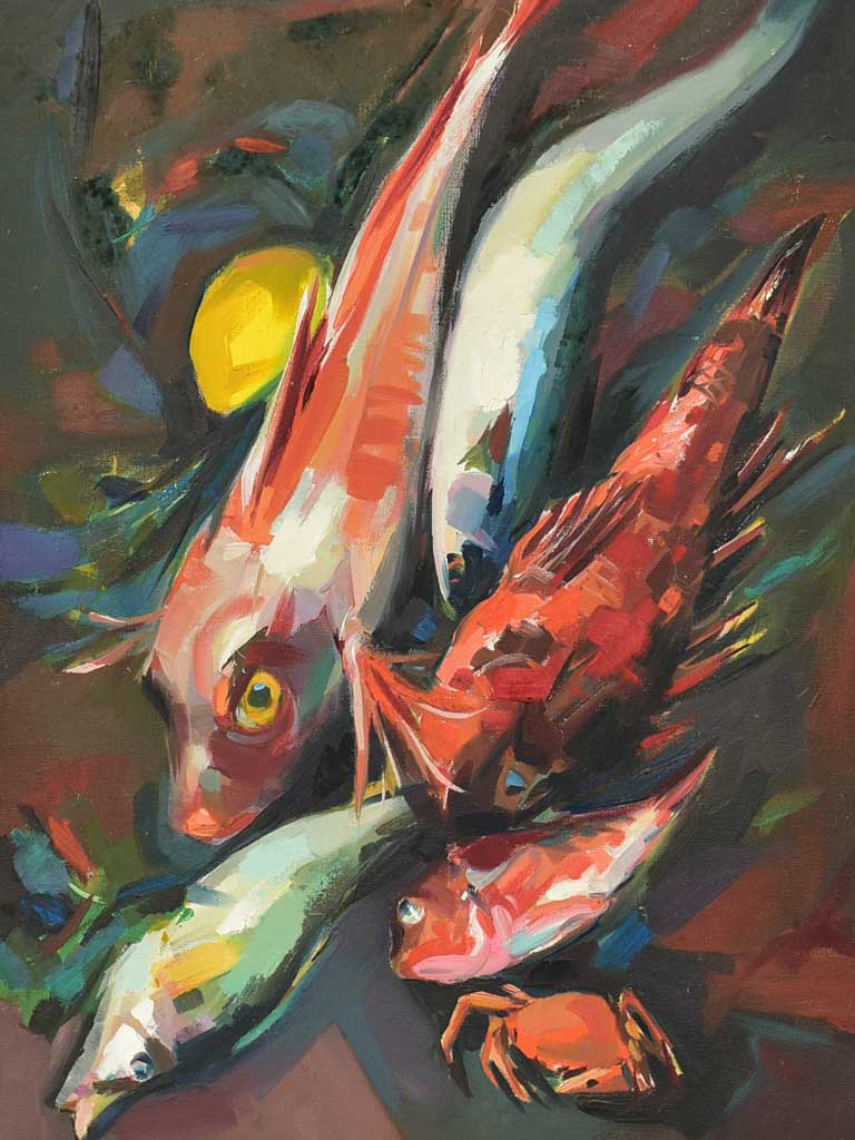 "Mid century still life - Bouillabaisse seafood - oil on canvas 23¼"" x 16½"""