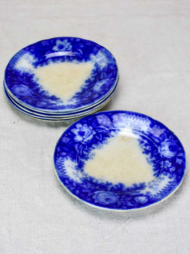 6 antique French plates with deep blue flowers -  'Jardiniere' pattern