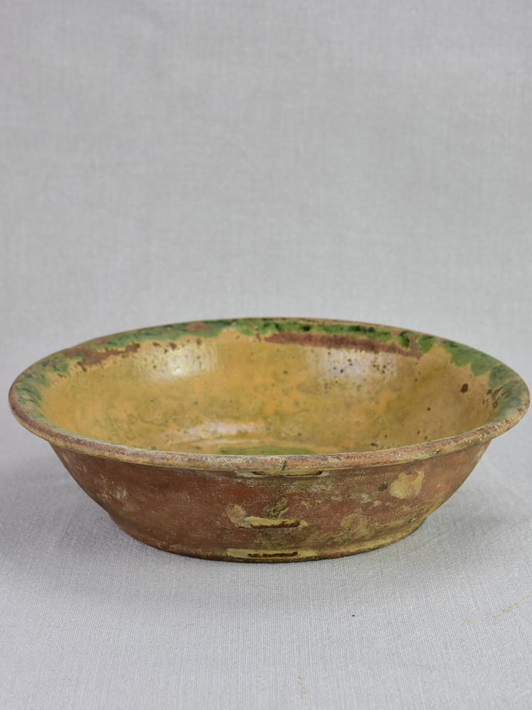 Antique French terracotta bowl with flowers with old repairs 11""