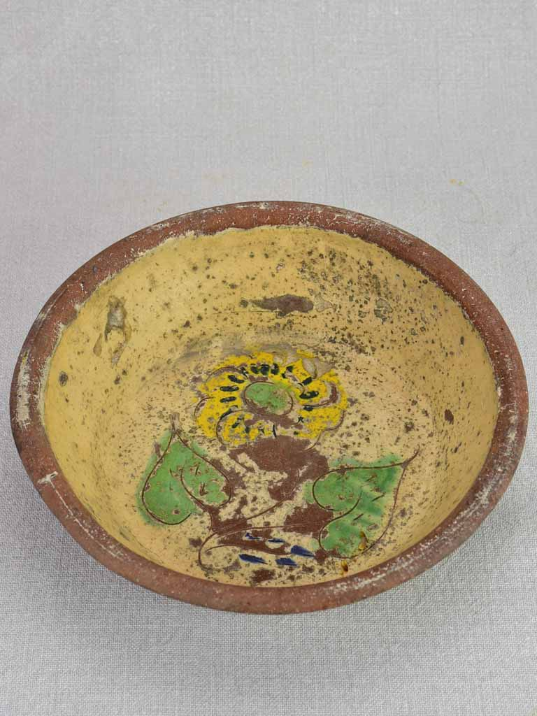 Antique French terracotta bowl with flowers 9¾""