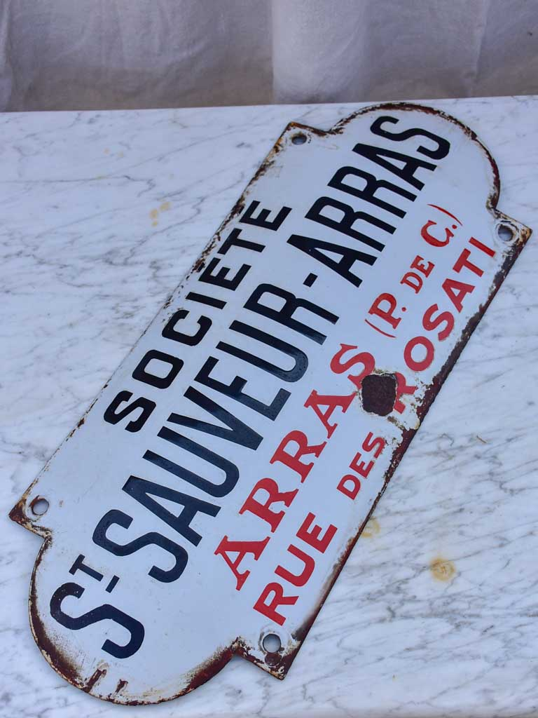 Antique French enamel sign from a factory - St Sauveur Arras