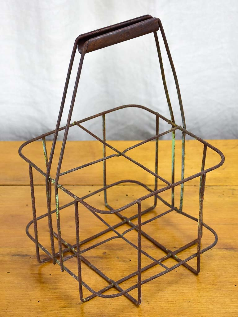 Antique French bottle carrier - iron