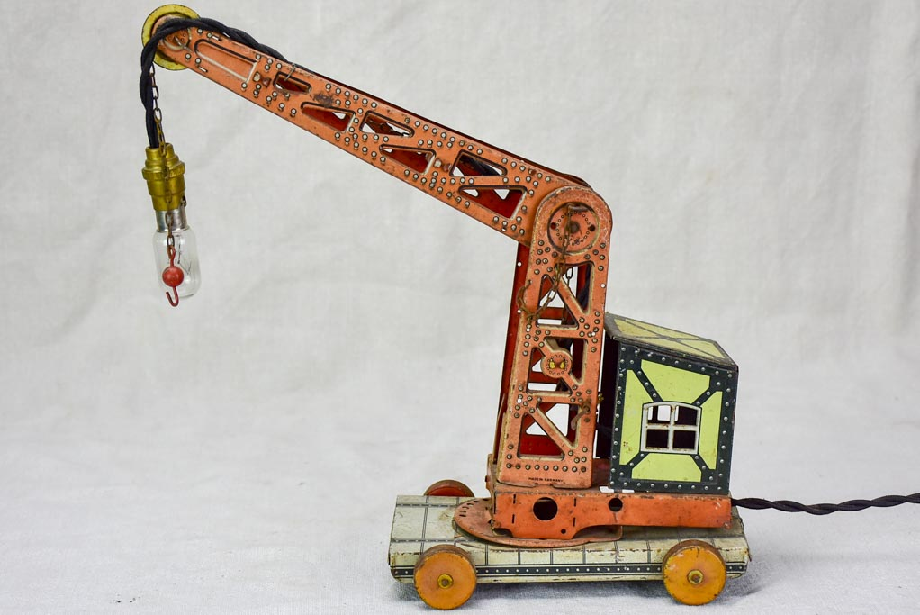 Antique toy crane lamp from the 1930's