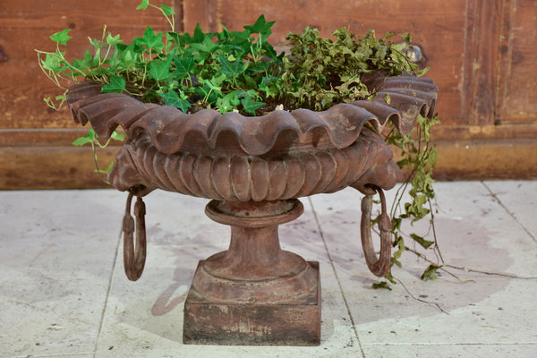 19th century cast iron French garden urn with handles