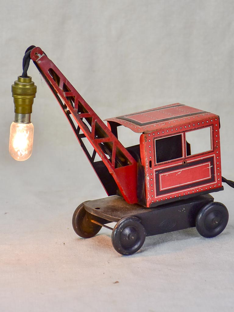 French toy crane lamp from the 1930's - red