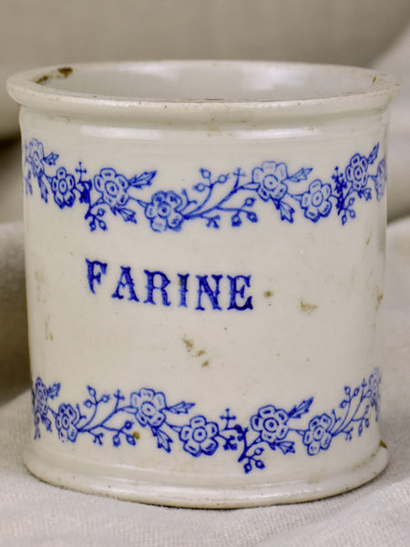 Antique French flour pot with blue flowers