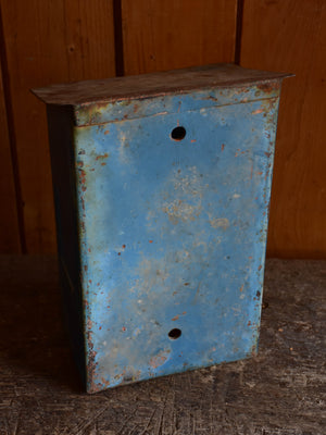 Antique French letter box with blue patina