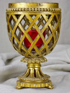 Antique French giltwood lattice cup