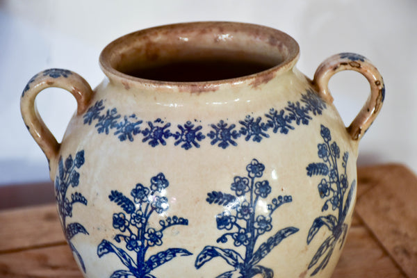19th century French ironstone blue and white confit pot from Saint-Uze