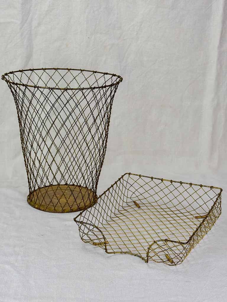 Mid century iron waste paper basket and in-tray