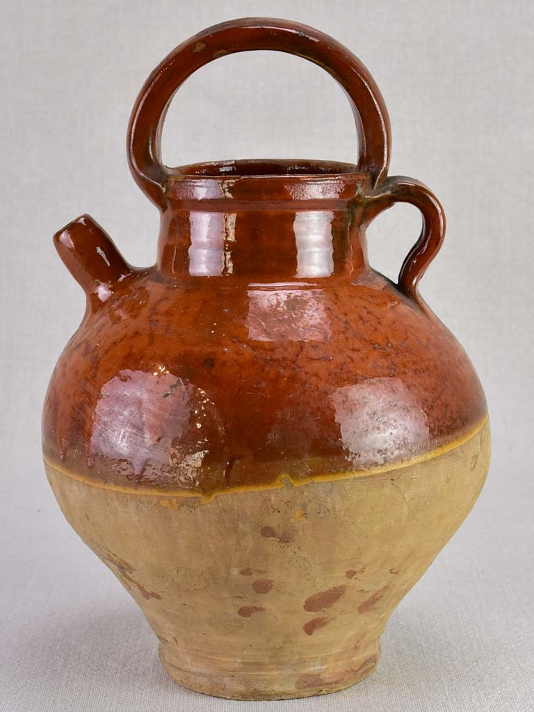 Early twentieth century French water pitcher with brown glaze 11¾""