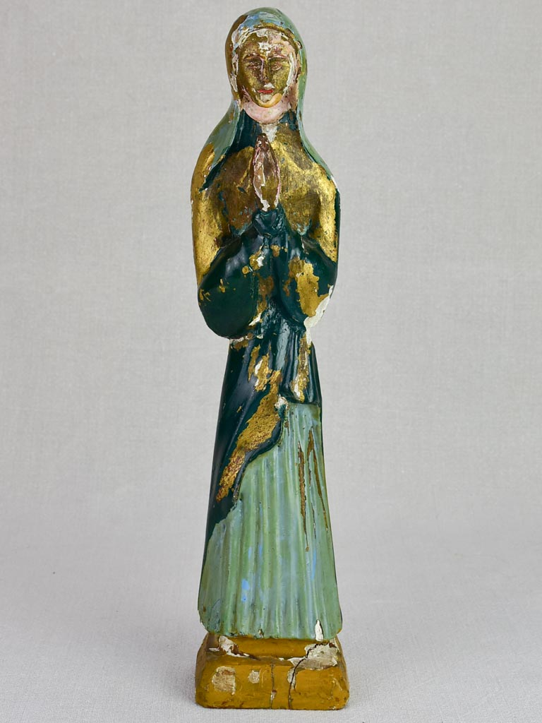 19th Century carved poly-chrome statue of the Virgin Mary 15¾""