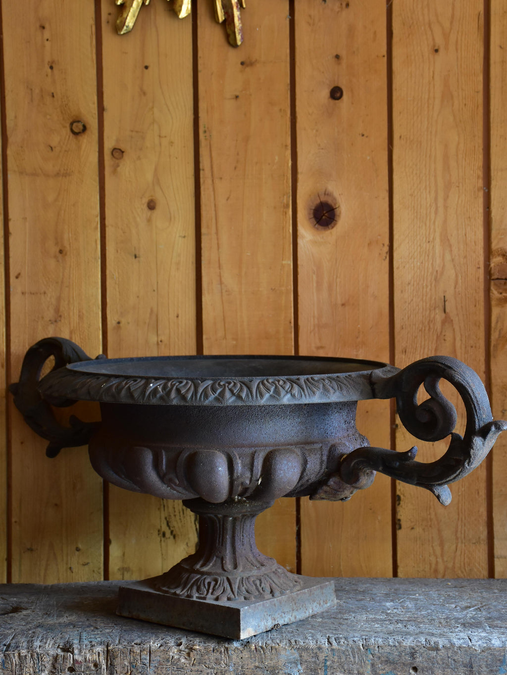Large cast iron French garden urn – 19th century