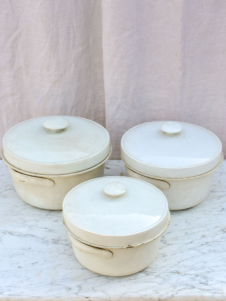 Collection of 3 antique French faience soup tureens with lids