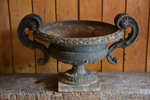 Large cast iron French garden urn with decorative handles – 19th century