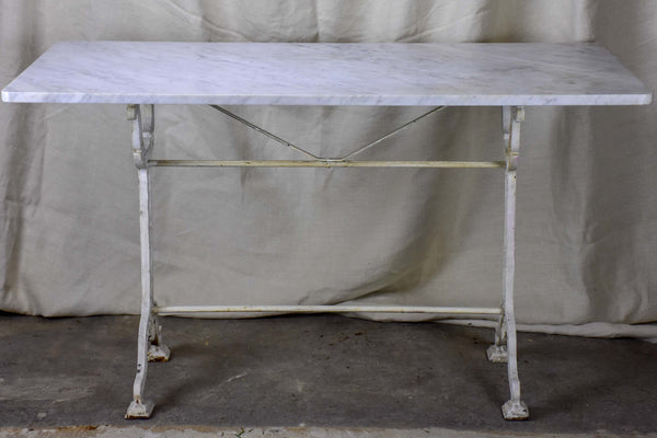 Antique French marble top bistro table - rectangular