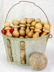 Antique French skittles game - 14 wooden pins, one ball