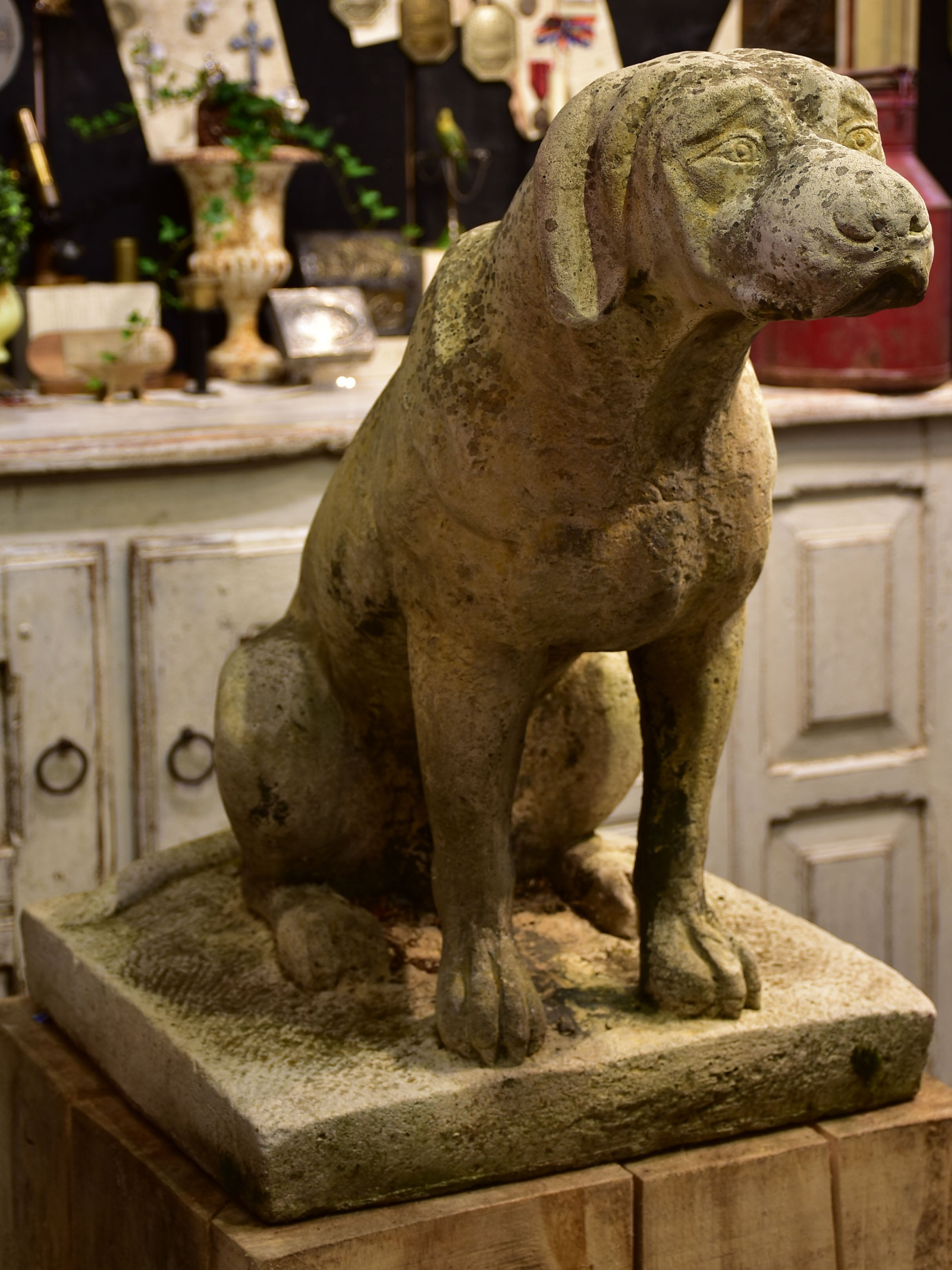 Pair of vintage French garden sculptures - dogs