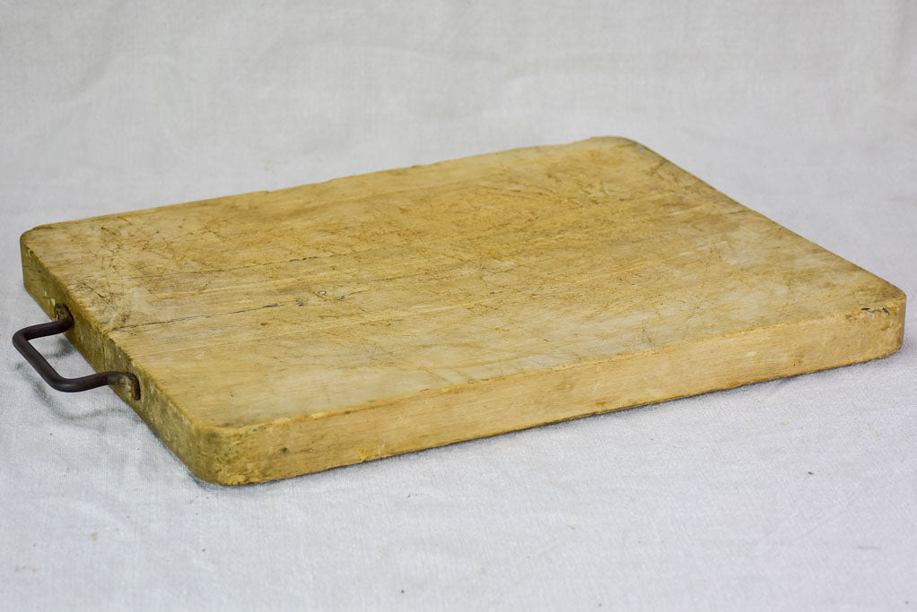 "Antique French cutting board with iron handle 14¼"" x 17¾"""