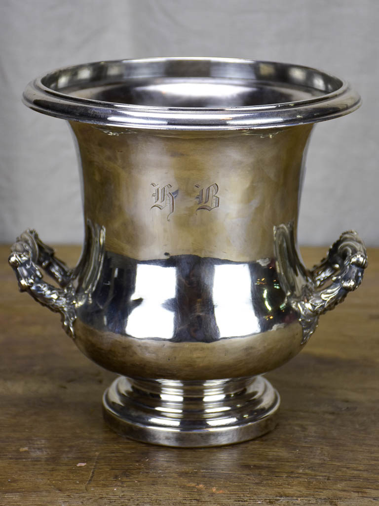 Antique French champagne bucket - silver plate