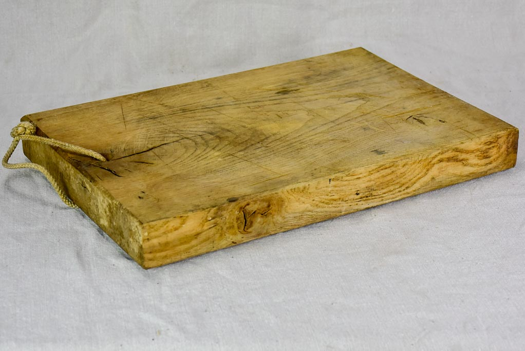"Antique French cutting board with rope handle 13¾"" x  17¾"""