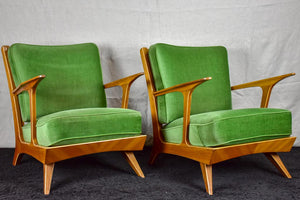 Set of four 1960's Scandinavian armchairs with green velour upholstery