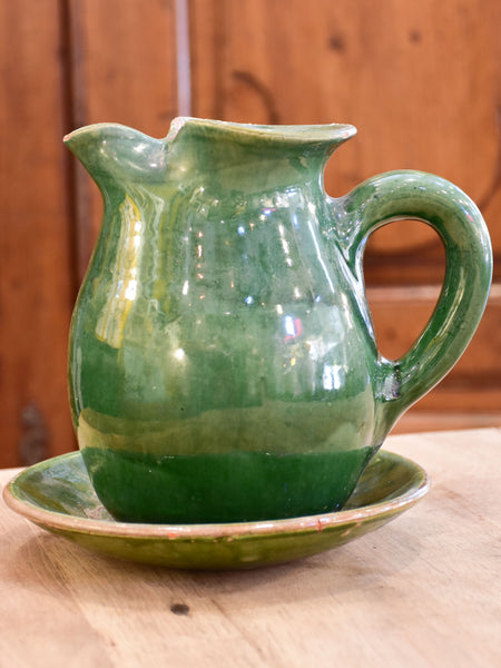 Antique French water jug and dish from Cliousclat, France