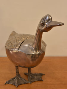 Large bronze duck container - 1970's