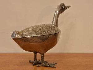 Large bronze duck container – 1970's