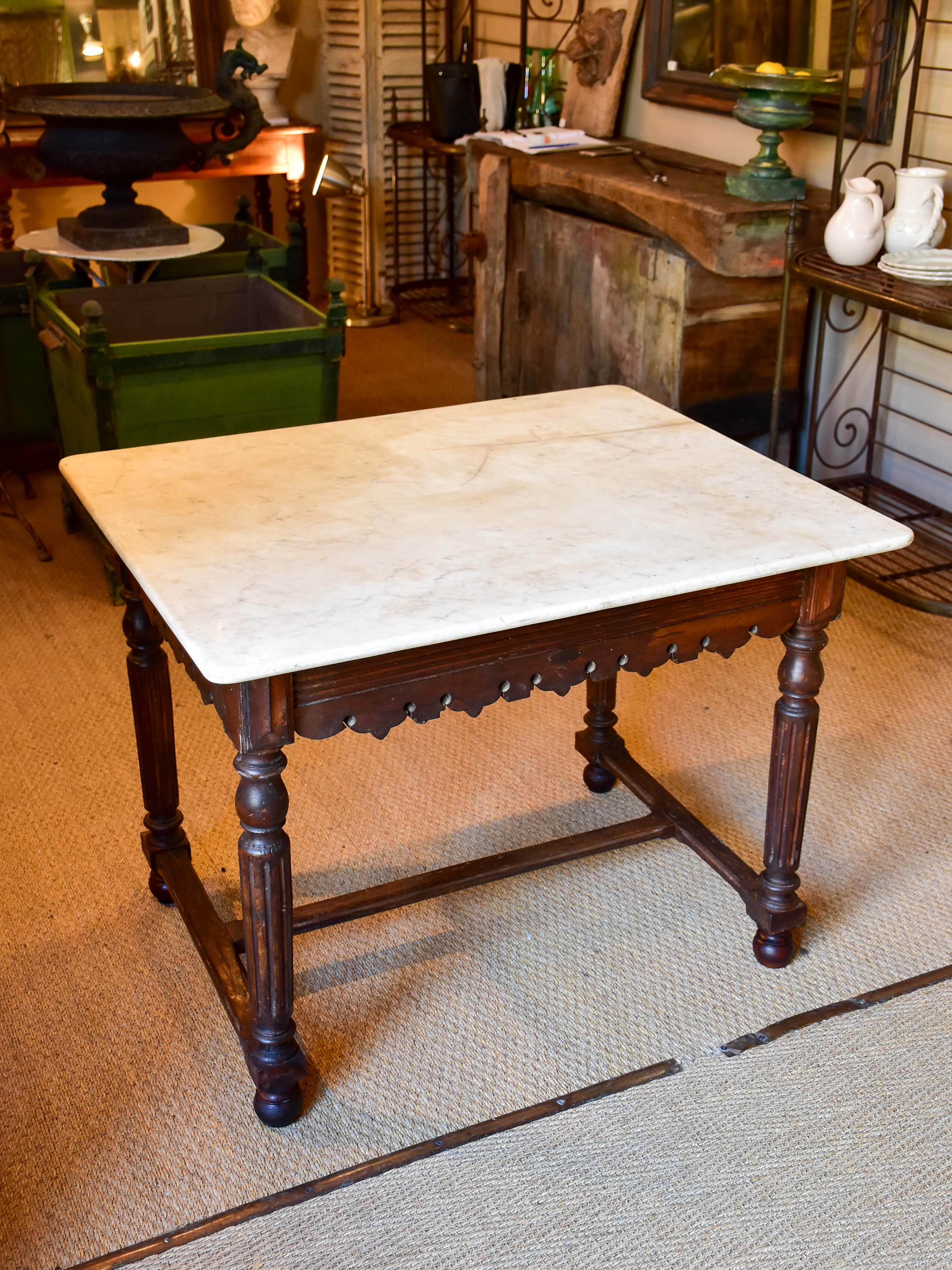 Antique French butcher's display table with marble top