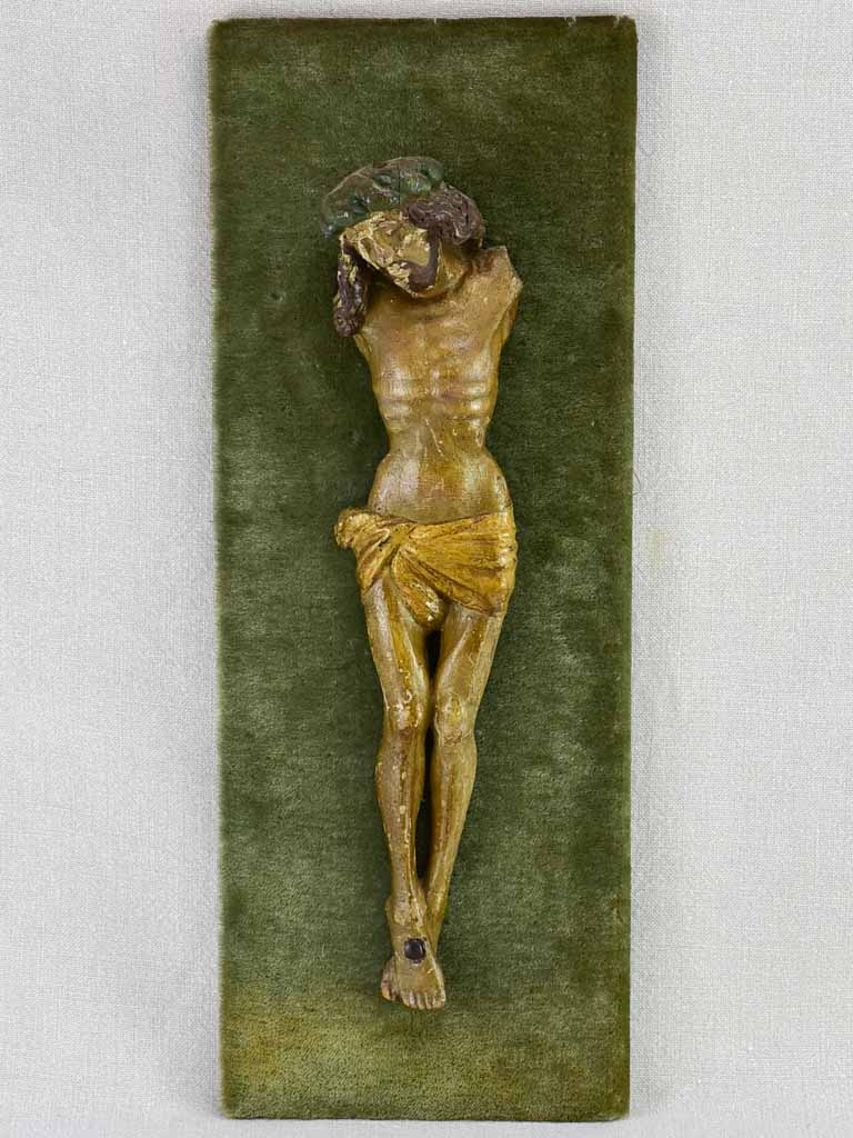 "18th Century carved statue of Christ on green velour 21¼"" x  8"""