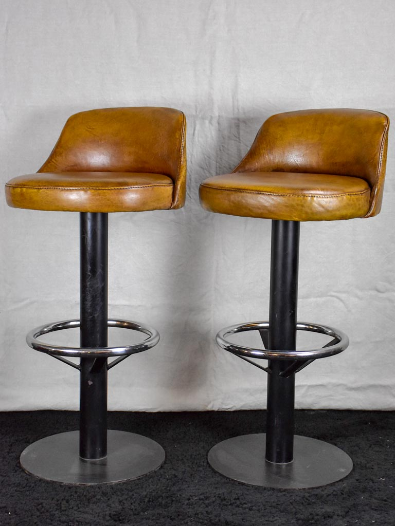Pair of mid century French leather barstools