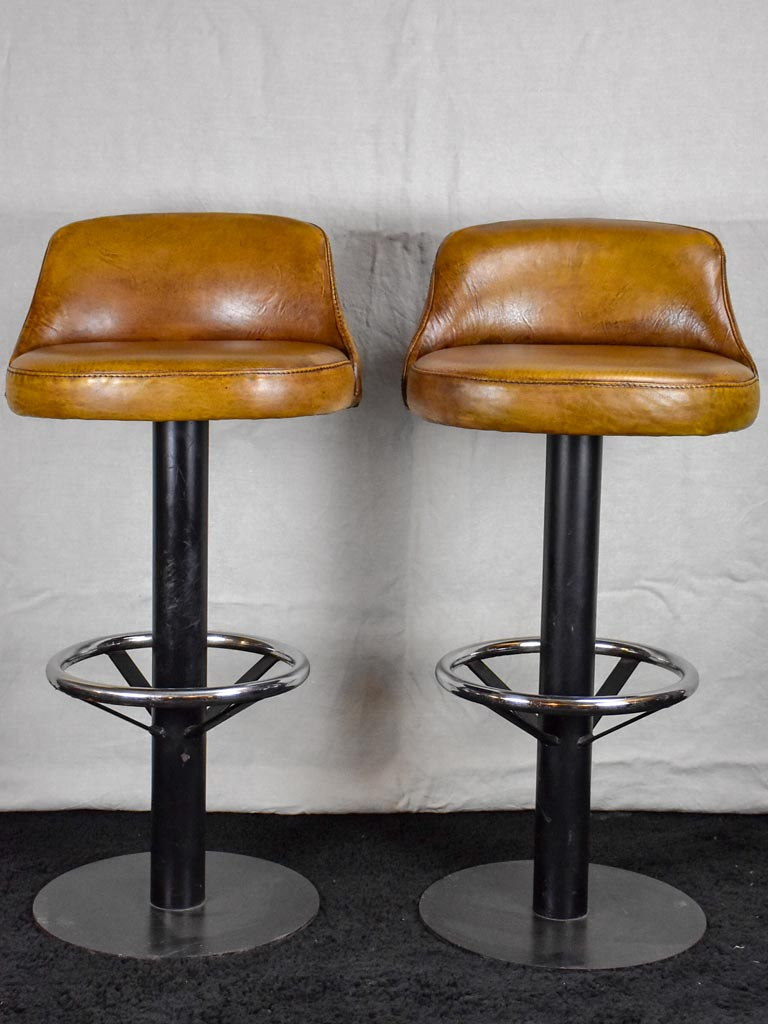 Set of four mid century French leather barstools