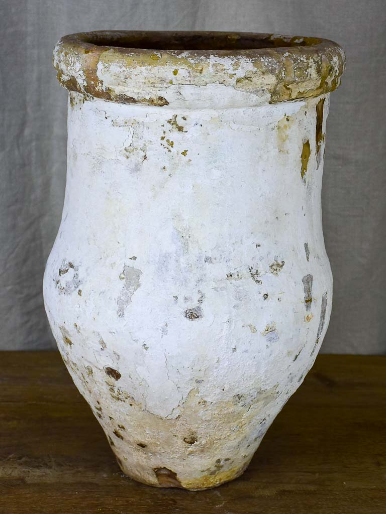 Antique Spanish olive oil jar - white patina, 2 of 2