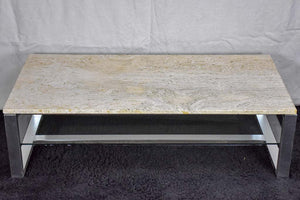 1970's travertine, glass, chrome coffee table - Michel Ducaroy