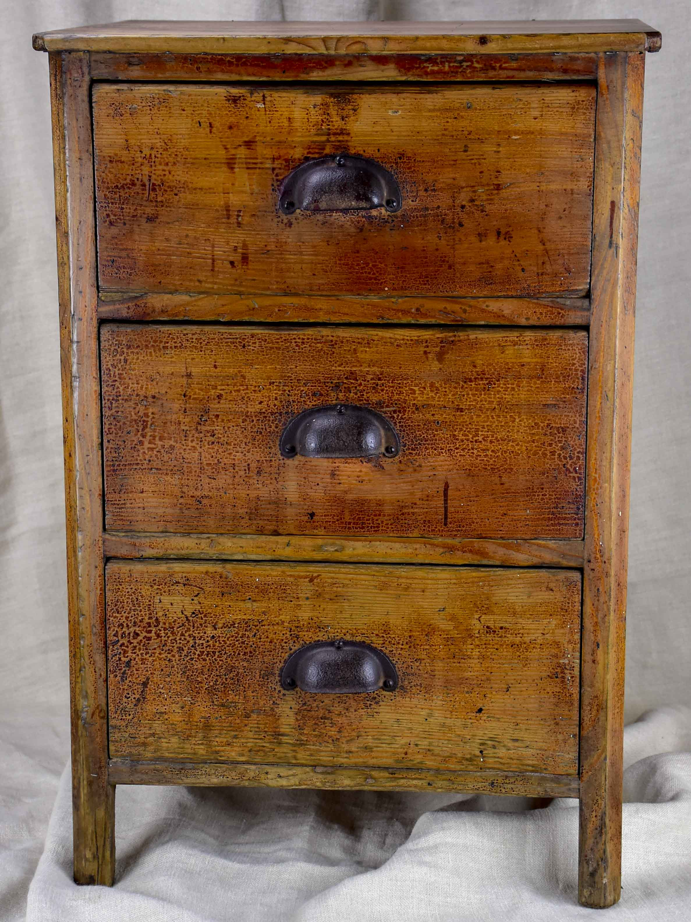 Rustic antique French nightstand