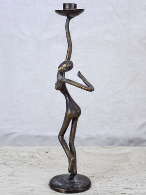 Vintage figurative bronze candlestick of a dancing woman 14¼""