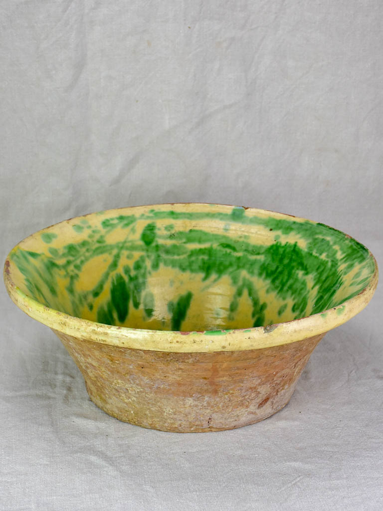 Large late 19th Century tian bowl with yellow and green glaze 19¼""