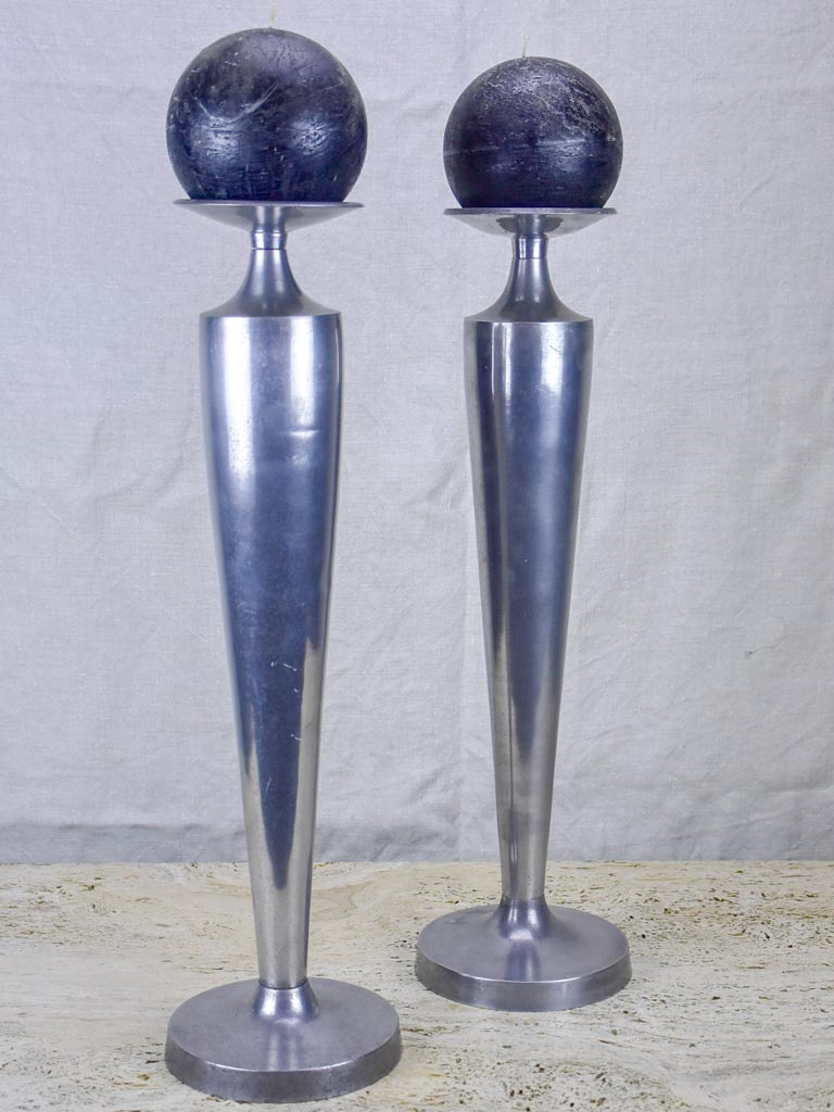 Pair of large vintage candlesticks - aluminium