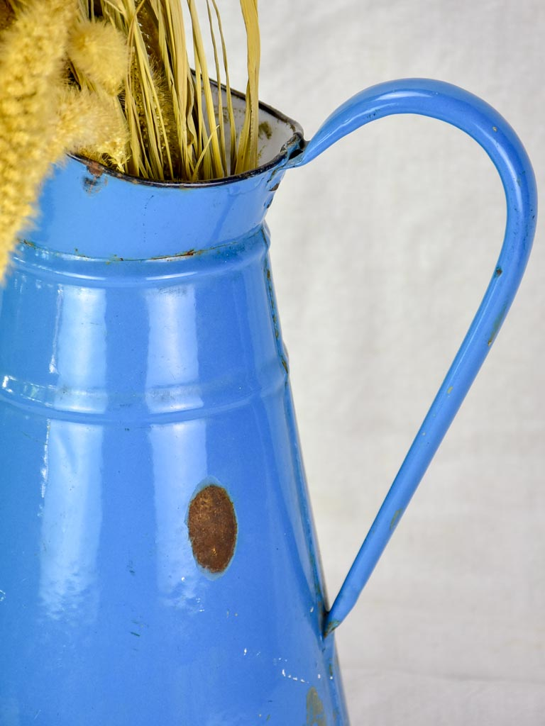 Mid century enamel pitcher - blue
