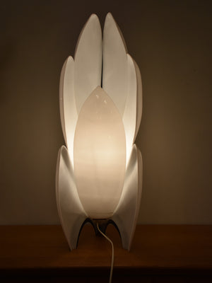 Liane Rougier Perspex lamp – black and white orchid 1970's