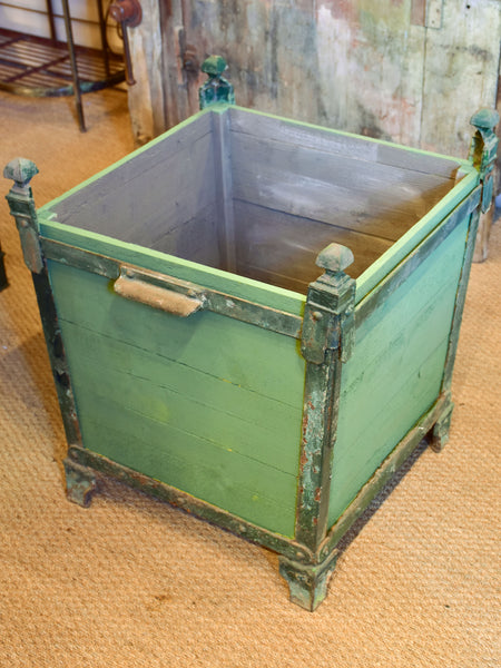 Three antique French garden planters with green finish