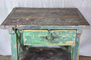 Superb early 20th Century work table with original green patina, cross bracing and drawer 31½ x  39¾""""
