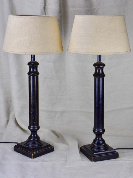 Pair of vintage French table lamps with black stands
