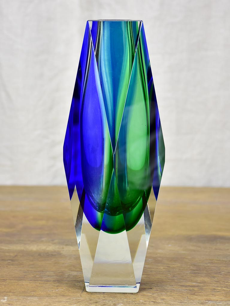 Mid-Century Murano glass vase - blue and green